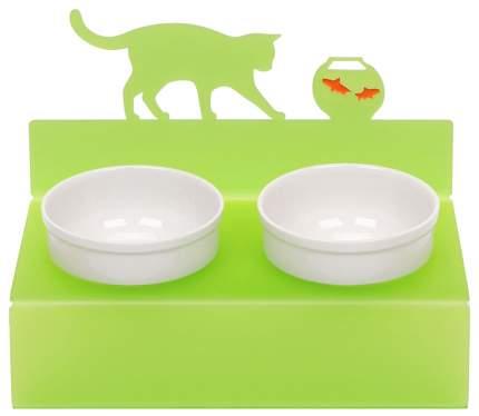Двойная миска для кошек Artmiska, керамика, пластик, белый, зеленый, 2 шт по 0.35 л