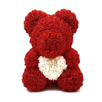 Мишка из роз с белым сердцем красный 40см + подарочная коробка