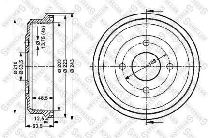 Тормозной барабан STELLOX 6025-2532-SX