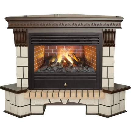 Камин с эффектом живого пламени Real-Flame Stone Corner new 26/HL с очагом 3D Novara