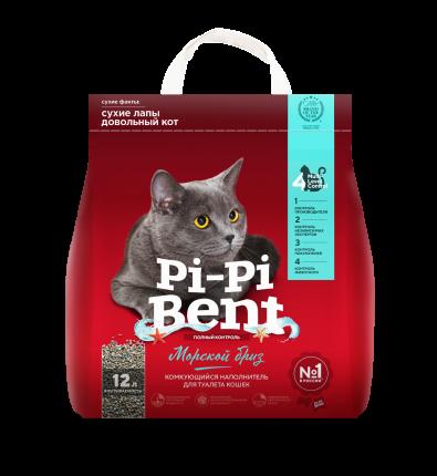 Наполнитель для кошачьего туалета Pi-Pi Bent Морской бриз, комкующийся, 5кг, 12л