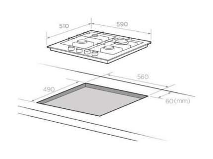 Встраиваемая варочная панель газовая Midea MG684TRGB-B Black