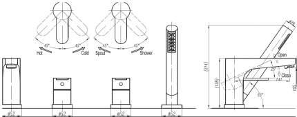 Смеситель для ванны на борт Cezares LACONICO-C-BVDM-01