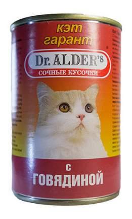 Консервы для кошек Dr. Alder's Cat Garant, с говядиной в соусе, 24шт по 415г