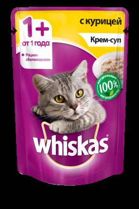 Влажный корм для кошек Whiskas крем-суп с курицей, 85г