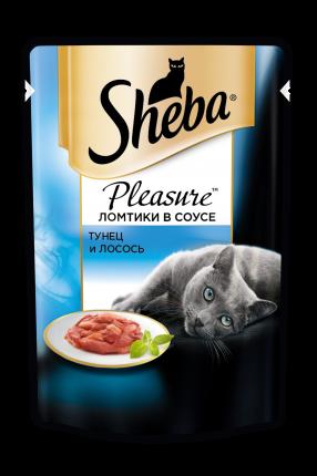 Влажный корм для кошек Sheba Pleasure ломтики из тунца и лосося в соусе, 85г х 24шт