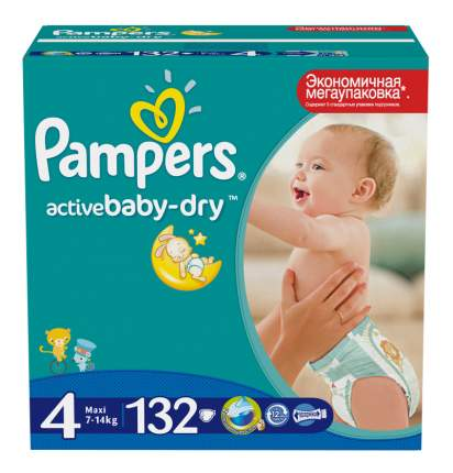 Подгузники Pampers Pampers Active Baby-Dry (7-14 кг), 132 шт.