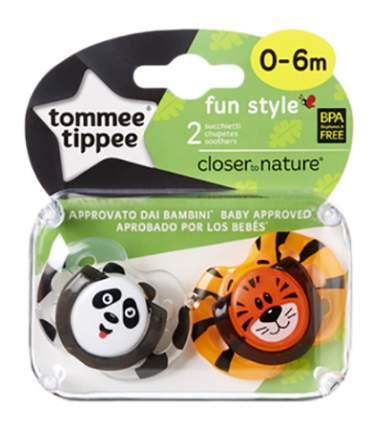 Набор детских пустышек tommee tippee Веселые животные. Панда и тигрёнок (0-6 мес.) 2 шт.