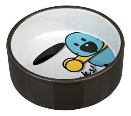 Одинарная миска для кошек и собак TRIXIE, керамика, белый, коричневый, 0.3 л