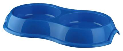 Двойная миска для кошек и собак TRIXIE, пластик, синий, 2 шт по 0.2 л