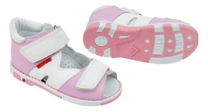 Сандалии детские Таши Орто с логотипом на липучках ярко-розовые р.26