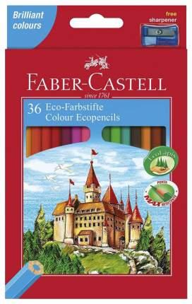 Цветные карандаши Faber-Castell ECO ЗАМОК с точилкой, 36 шт