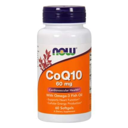 NOW CoQ10 60 мг + Омега 3 (60 капсул) - омега коэнзим q10 кардио протектор