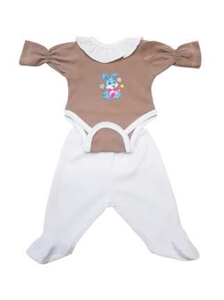 Боди с ползунками для куклы Колибри 104 коричневое с белым