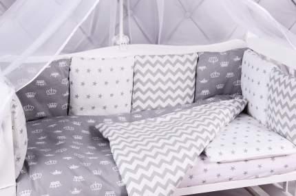 Комплект Premium в кроватку 18 предметов AmaroBaby ROYAL BABY (бязь, серый)
