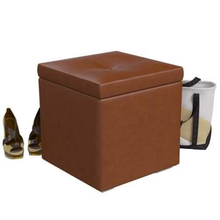 Банкетка 6-5114 Куба, коричневая искусственная кожа (коричневый БАШ), ШхГхВ 42х42х42 см.