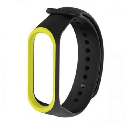 Силиконовый браслет Xiaomi Mi Band 4 с окантовкой Black с желтым