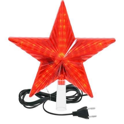 Верхушка для ели Vegas Звезда светодиодная красная 30 ламп 1 шт 20 см