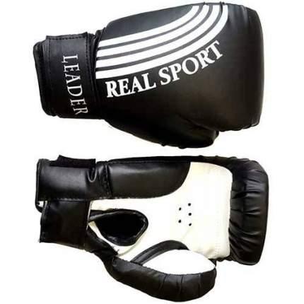 Боксерские перчатки RealSport Leader черные 6 унций