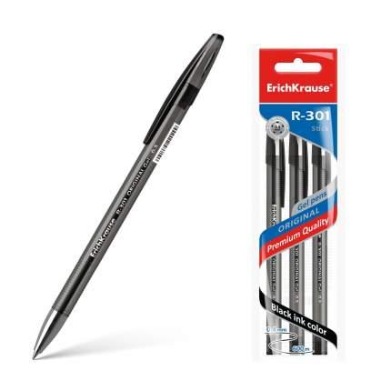 Ручка гелевая ErichKrause® R-301 Original Gel 0.5, цвет чернил черный (в пакете по 3 шт.)