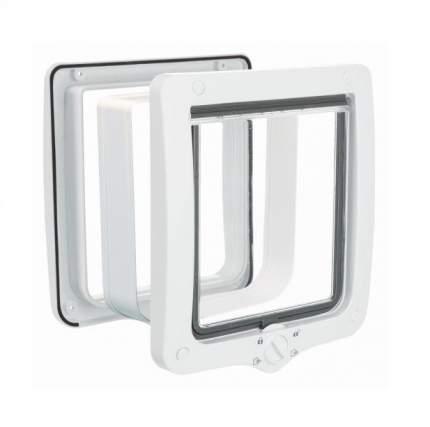 Дверца для кошки TRIXIE 4-Way, с туннелем, белая, XL, 24х28 см