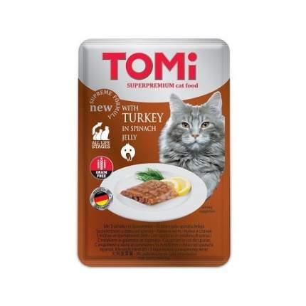 Влажный корм для кошек Tomi, c индейкой в желе из шпината, 100г