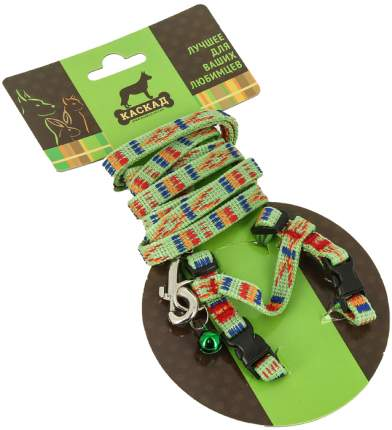Комплект Каскад Орнамент Поводок и шлейка нейлон зеленый для кошек 120см + 15/25см