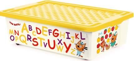 Ящик для игрушек Plastic Centre Три Кота Обучайка считай на колесах с желтой крышкой 30 л