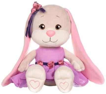 Мягкая игрушка Jack&Lin Зайка Лин в фиолетовом платье с розочками на поясе 25 см