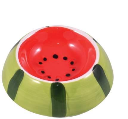 Миска для грызунов КерамикАрт Арбузик, керамическая, красно-зеленая, 10мл