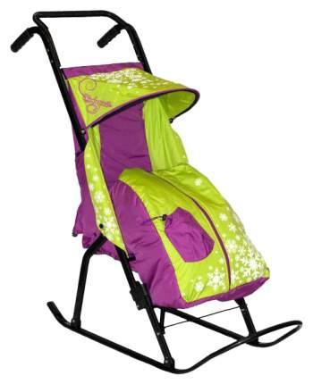 Санки-коляска R-Toys Снегурочка 2-Р1 Снежинки, сиреневый/салатовый