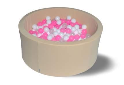 Сухой игровой бассейн Жемчужное сияни 40см, с 200 шарами: бел, прозр, розов
