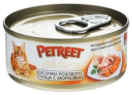 Консервы для кошек Petreet Natura, розовый тунец, морковь, паштет, 70 г 12 шт