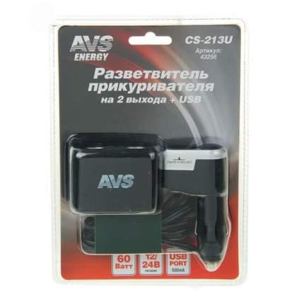 Разветвитель для прикуривателя AVS 5A 2 гн. 1 USB