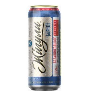 Пиво безалкогольное Жигули барное в банке 0.45 л