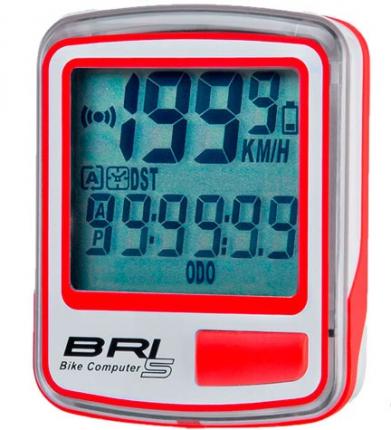 Велокомпьютер BRI-10, 10 функций, Бело-красный