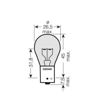 Лампа накаливания автомобильная OSRAM 24 V 21W BAU15s (7510TSP)