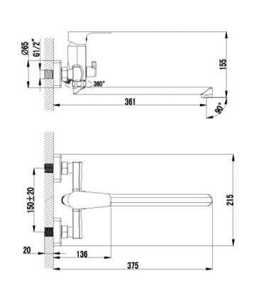 Смеситель универсальный LEMARK Plus Factor LM1651C хром
