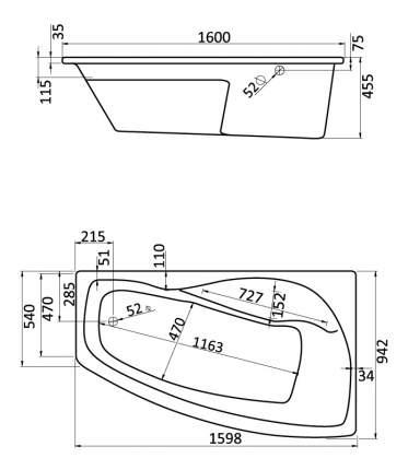 Акриловая ванна Santek Майорка XL 160х95 без гидромассажа правая