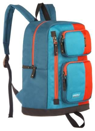 Рюкзак Grizzly RU-619-2 голубой/оранжевый/синий 14 л