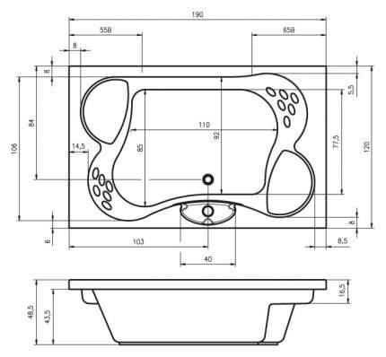 Акриловая ванна Riho Claudia 190х120 без гидромассажа
