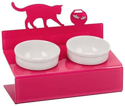 Двойная миска для кошек Artmiska, керамика, пластик, белый, фиолетовый, 2 шт по 0.35 л