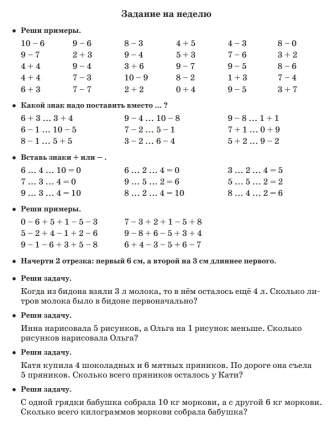 Задания по Математике для повторения и Закрепления Учебного Материала 1 класс Узорова О, В