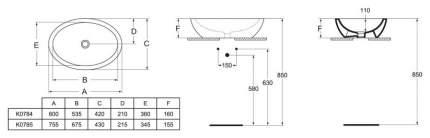 Накладная раковина IDEAL STANDARD K078501