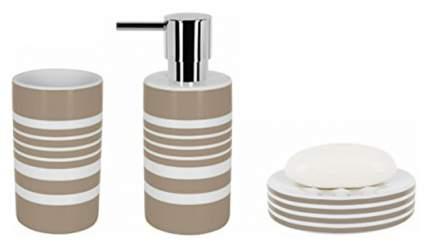 Стакан для зубных щеток Spirella Tube-Stripes фарфор коричневая полоска