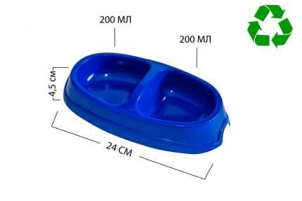 Миска для животных Киспис, двойная, антибактериальный экопластик, синяя, 200 мл + 200 мл