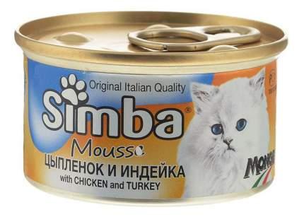 Консервы для кошек Simba Mousse, мусс с курицей и индейкой, 24шт по 85г