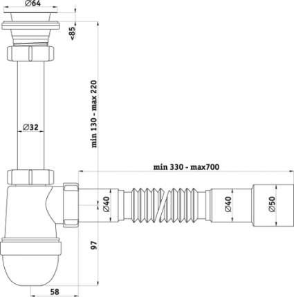 Сифон для кухонной мойки АНИ пласт С1015