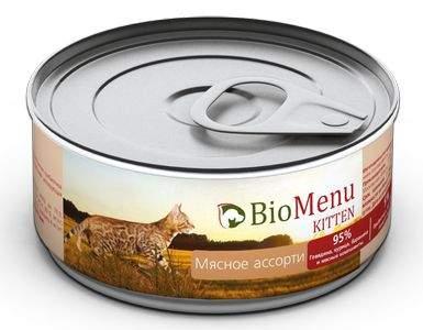 Консервы для котят BioMenu Kitten, говядина, курица, баранина, 100г