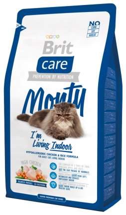 Сухой корм для кошек Brit Care Monty Indoor, для домашних, курица с рисом, 2кг
